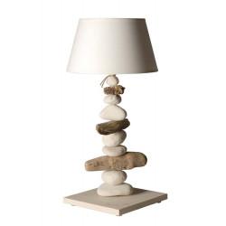 Grande lampe bois flotté beige