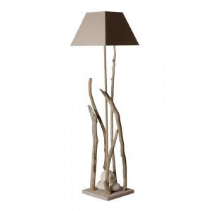 lampadaire bois flotté abat jour taupe