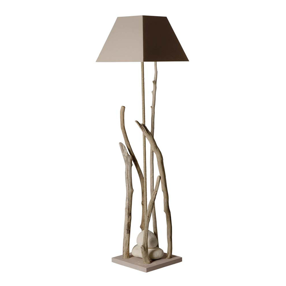 lampadaire bois flott avec abat jour taupe en vente sur lampe avenue. Black Bedroom Furniture Sets. Home Design Ideas