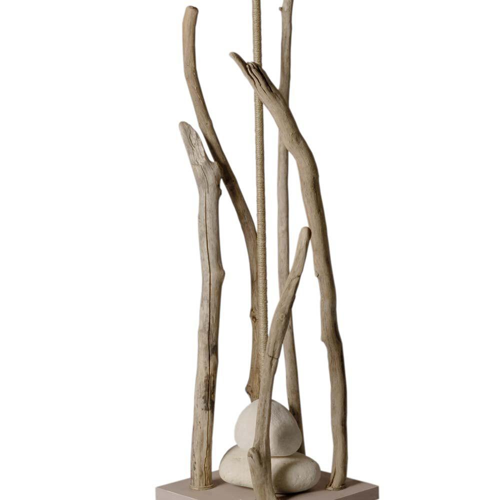 Lampadaire bois flott avec abat jour taupe en vente sur for Miroir en bois flotte pas cher