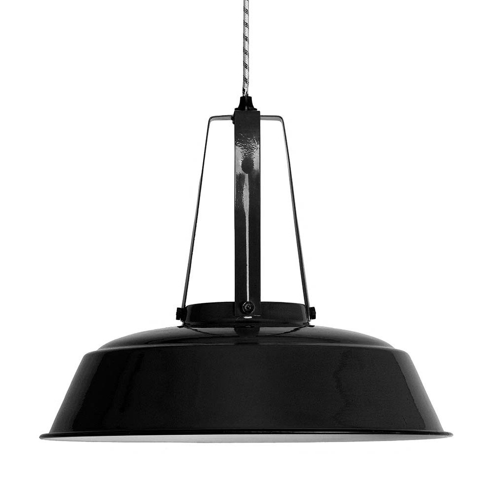 Suspension industrielle m tal noir 45cm lampe avenue for Suspension metal noir