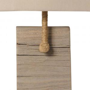 Applique bois vieilli et cordage abat jour gris