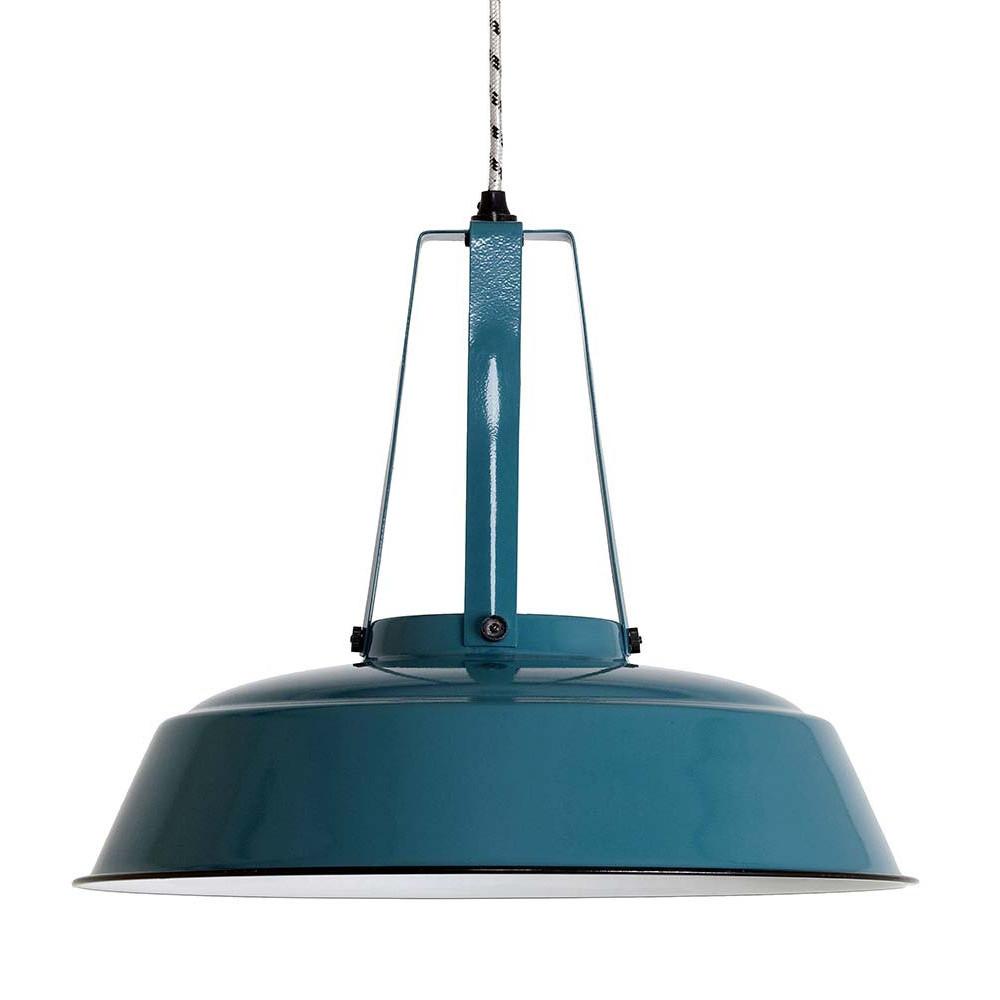 Grande suspension industrielle bleue lampe avenue for Lampe industrielle suspension