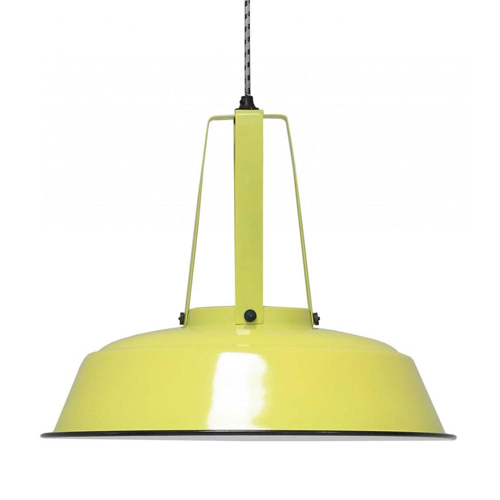 Grande suspension industrielle jaune en vente sur lampe avenue for Suspension industrielle