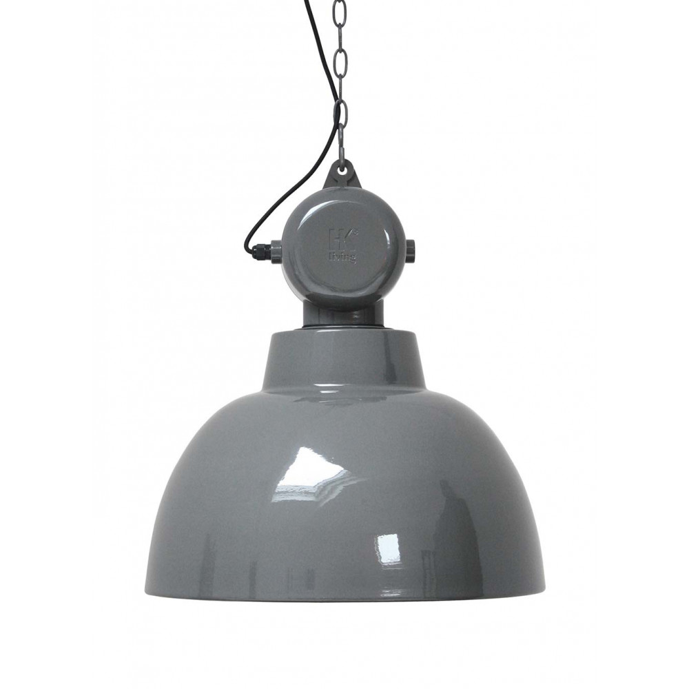 Suspension grise design industriel lampe avenue for Suspension grise