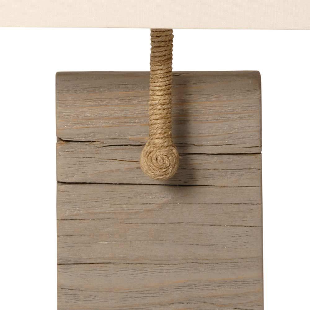 applique abat jour beige et bois vieilli bord de mer sur lampe avenue. Black Bedroom Furniture Sets. Home Design Ideas