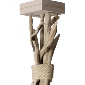 Suspension bois flotté abat-jour taupe