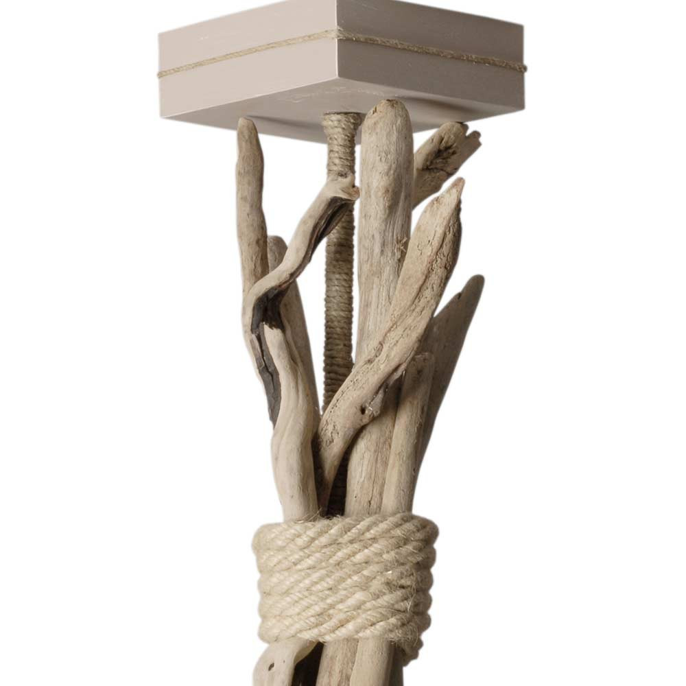 Suspension abat jour taupe en bois flott et corde en for Suspension bois