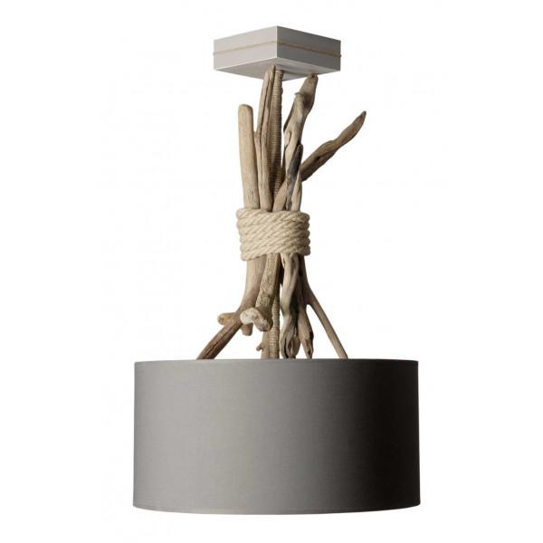Suspension bois et corde abat jour gris