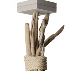 Suspension bois flotté abat jour cylindrique