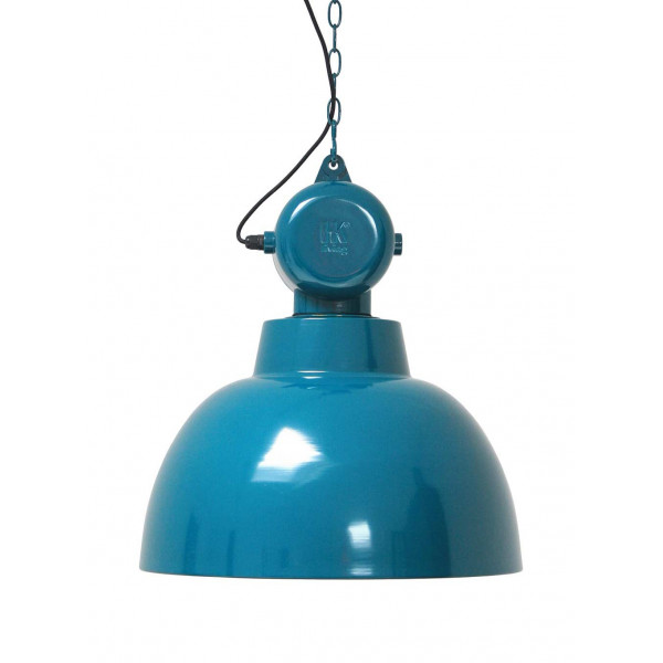 Suspension bleue design industriel en m tal lampe avenue - Suspension metal industriel ...