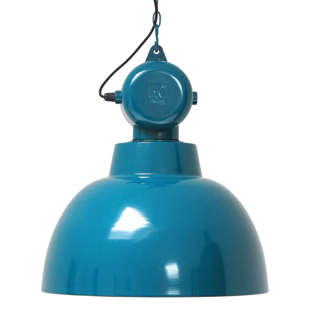 Grande suspension bleue design industriel en m tal lampe for Grande suspension luminaire