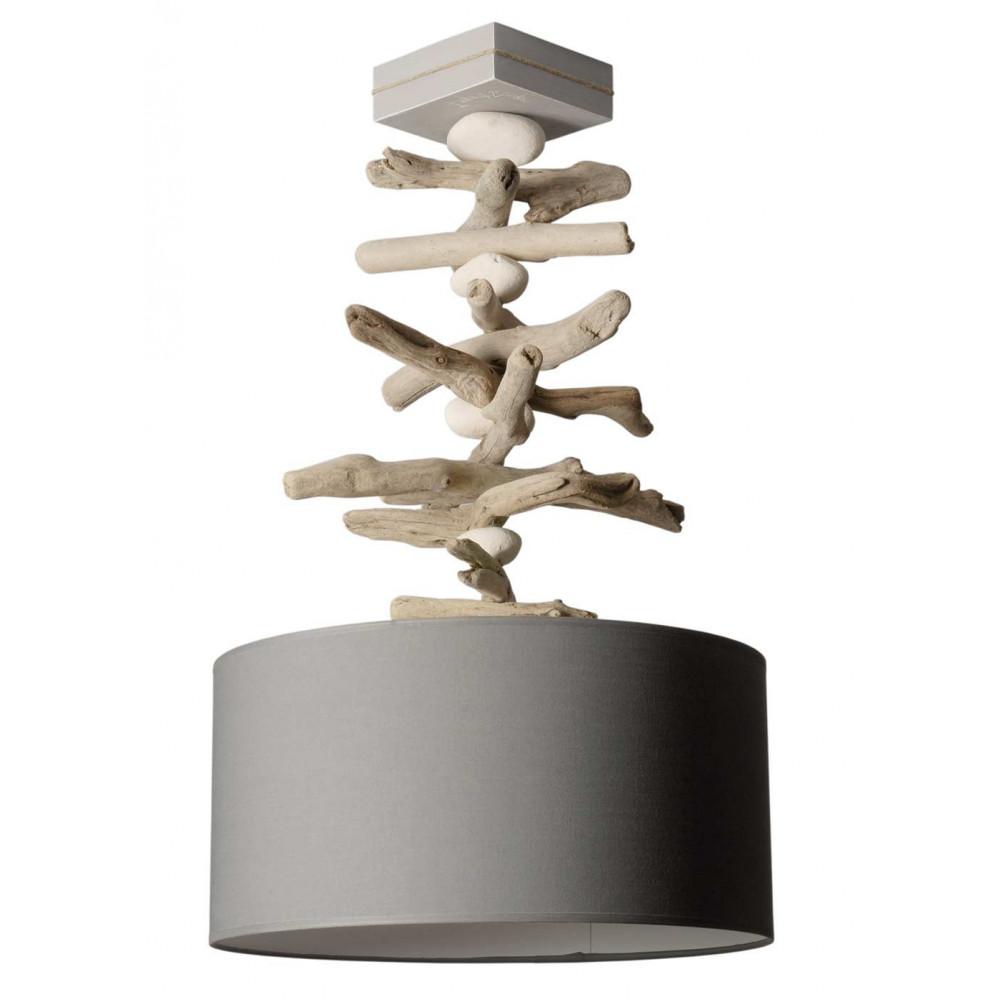 Suspension bois flott galets avec abat jour gris for Lampe de bois flotte