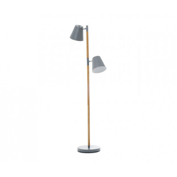 Lampadaire gris et bois design