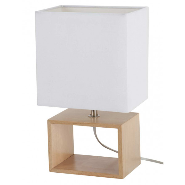 Lampe rectangle bois blanc