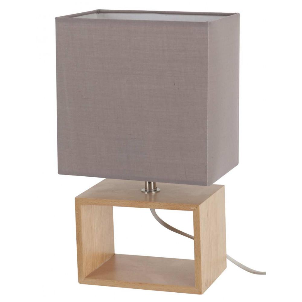lampe bois abat jour gris style nordique achat sur lampe avenue. Black Bedroom Furniture Sets. Home Design Ideas