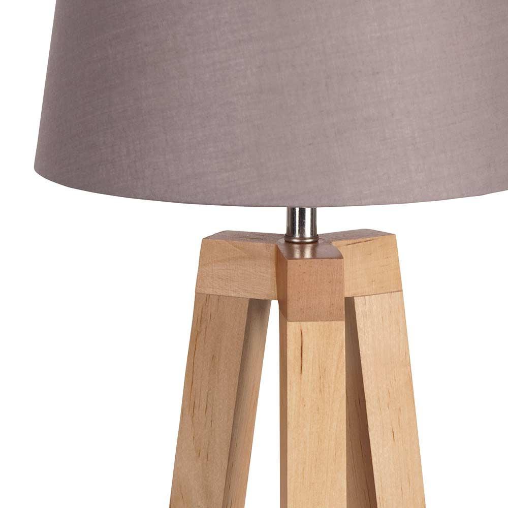 Lampe tr pied bois abat jour taupe scandinave lampe avenue for Lampe de chevet castorama