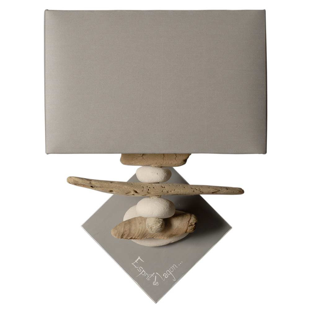 applique galets et bois flott s sur une base en bois peint. Black Bedroom Furniture Sets. Home Design Ideas