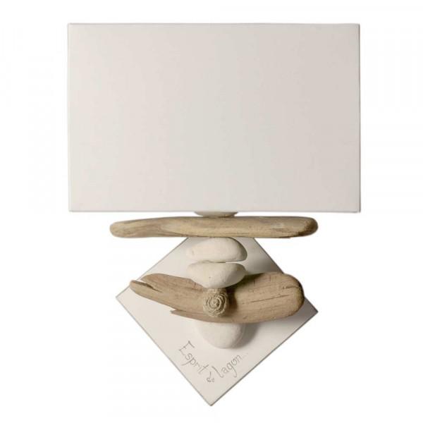 Applique galet et bois flott abat jour en coton blanc for Lampe de chevet bois flotte