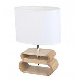 Lampe bois abat-jour blanc