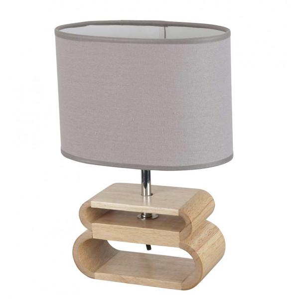 Lampe bois abat-jour gris