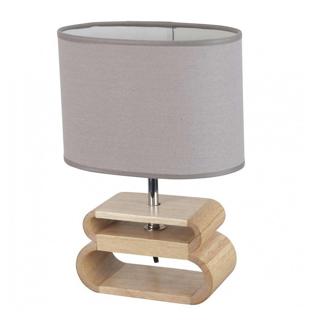 lampe en bois abat jour lin gris achat sur lampe avenue. Black Bedroom Furniture Sets. Home Design Ideas