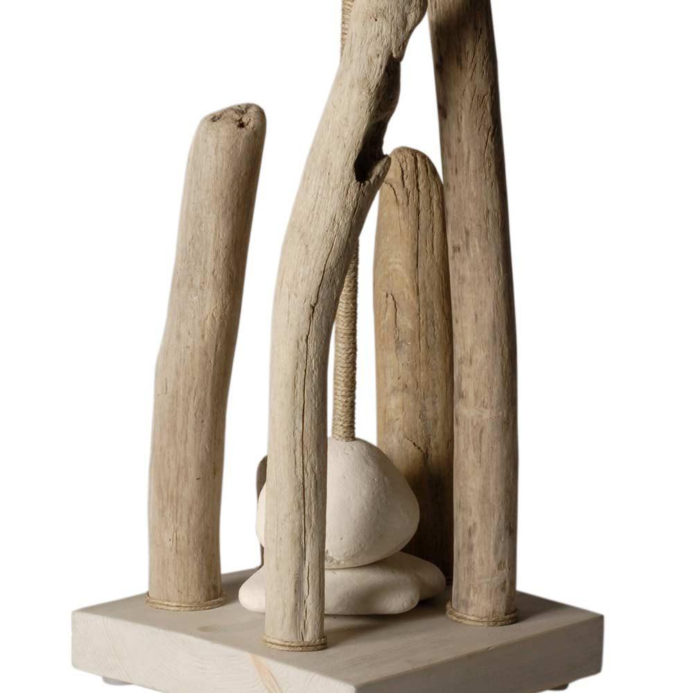 Lampe Bois Flotte Galet : Grande lampe ? poser bois flott?, galets, abat jour blanc. Sur Lampe