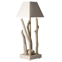 Lampe à poser bois flotté et galets abat jour blanc