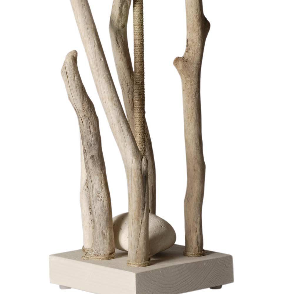 Lampe bois flott et galets abat jour en coton blanc en vente sur lampe avenue - Lampadaire bois et blanc ...