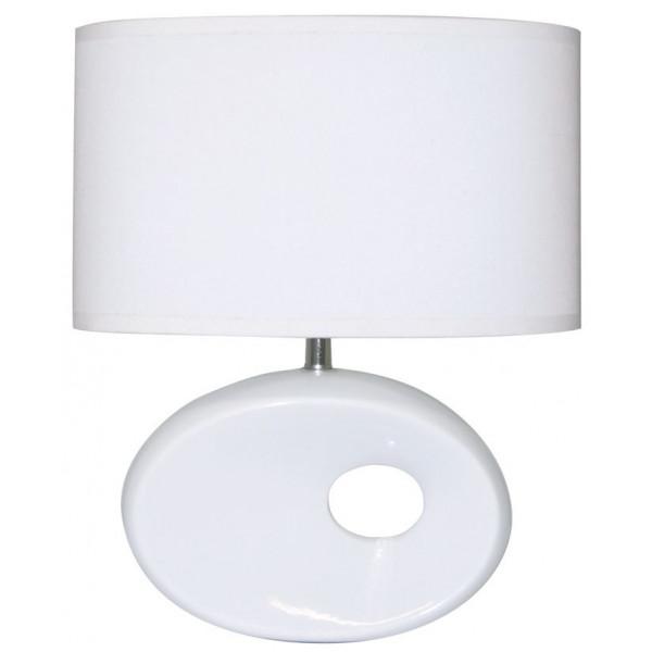 lampe c ramique blanche avec abat jour en vente sur lampe avenue. Black Bedroom Furniture Sets. Home Design Ideas