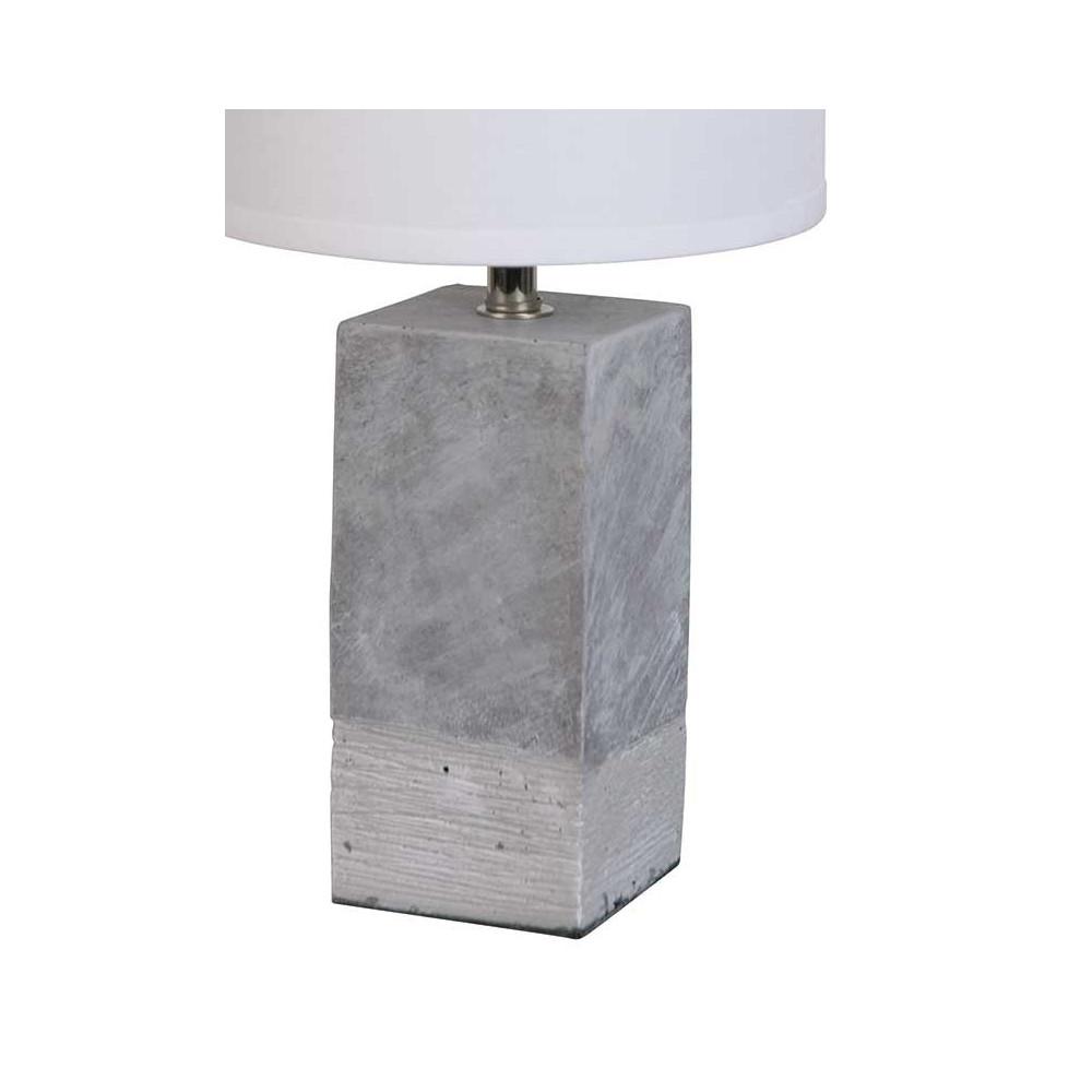 Lampe en b ton abat jour blanc luminaire contemporain - Lampe a poser contemporaine ...
