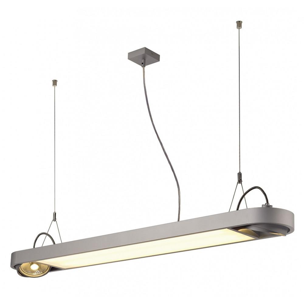 Grande suspension moderne gris argent lampe avenue for Eclairage suspension exterieur