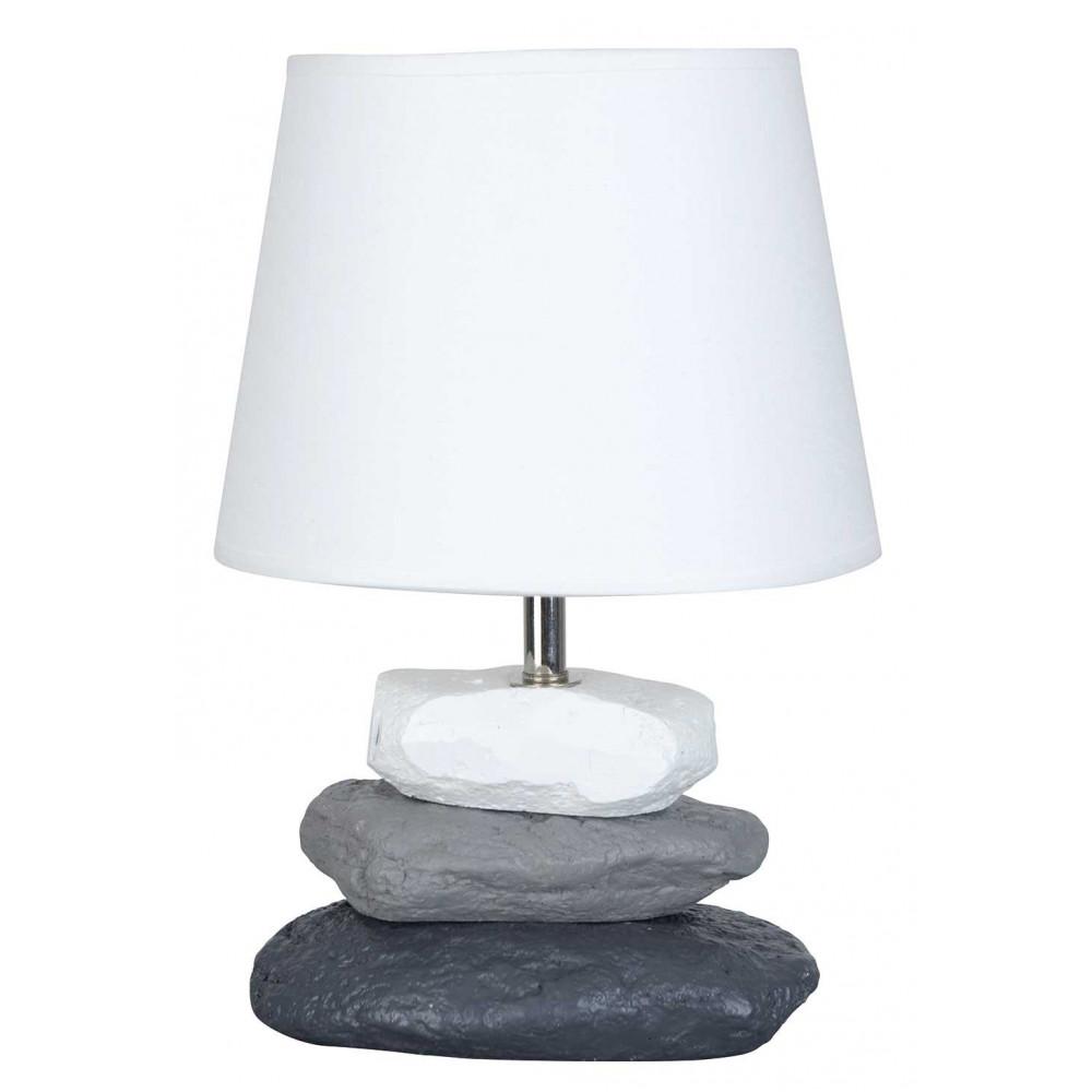 Lampe chevet blanche pied galets b ton en vente sur lampe - Abat jour lampe de chevet ...