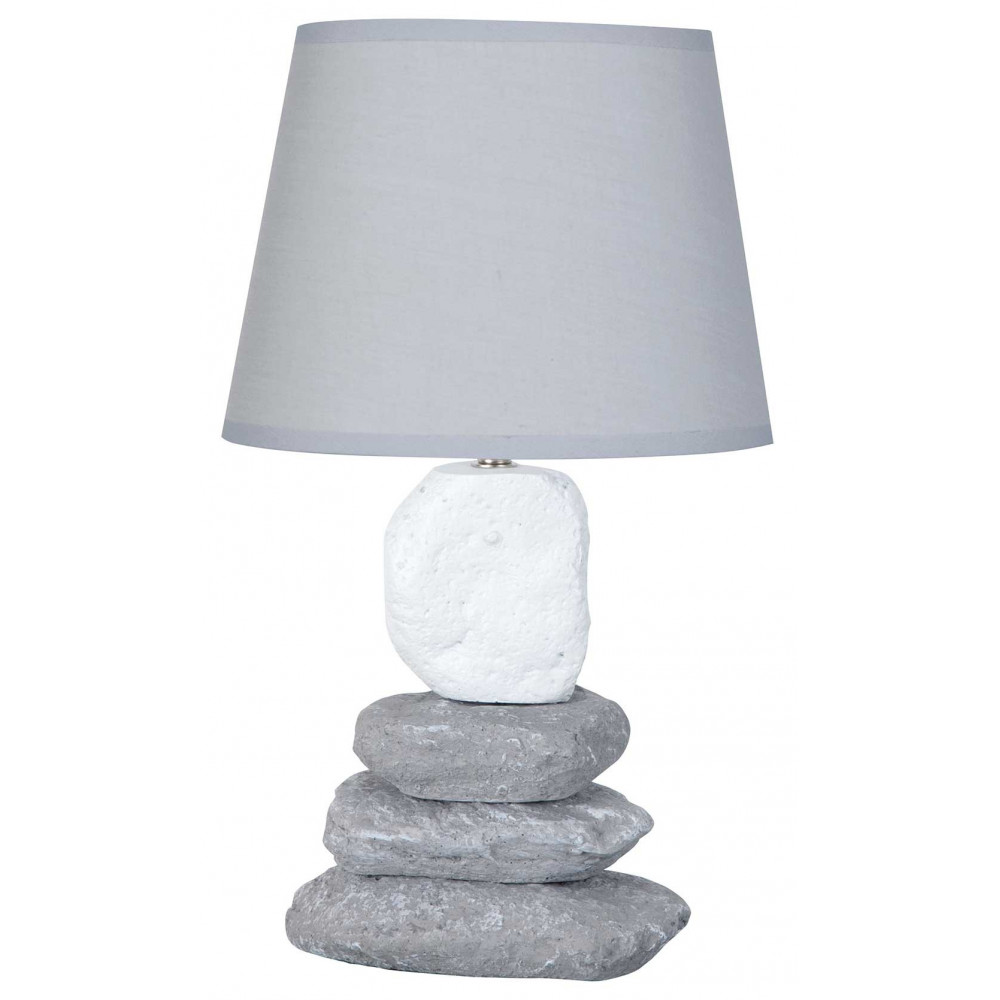 Lampe grise avec empilement de galets en vente sur lampe avenue - Lampe de chevet grise ...