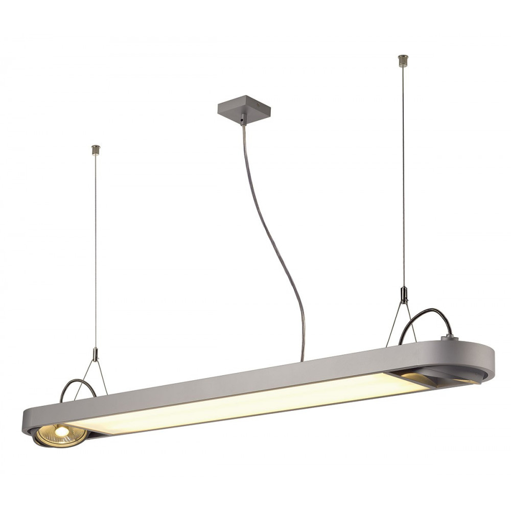 Tr s grande suspension alu gris argent en vente sur lampe for Grande suspension luminaire
