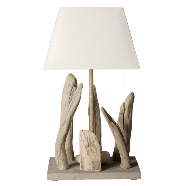 lampe poser en bois flott et abat jour blanc en vente sur lampe avenue. Black Bedroom Furniture Sets. Home Design Ideas