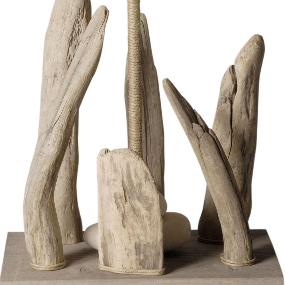 Lampe à poser en bois flotté et abat jour blanc En vente