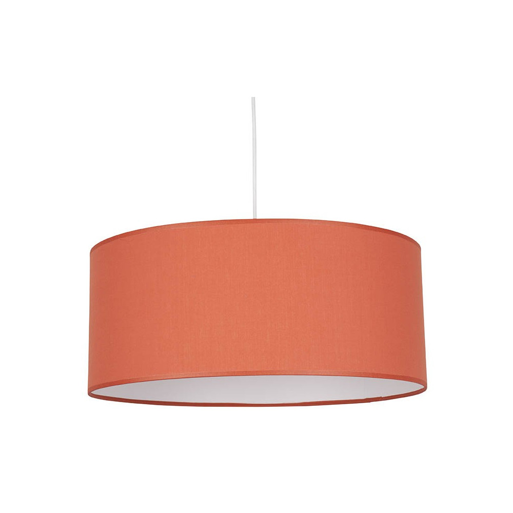 Suspension orange abat jour coton cylindrique lampe avenue for Luminaire suspension sejour