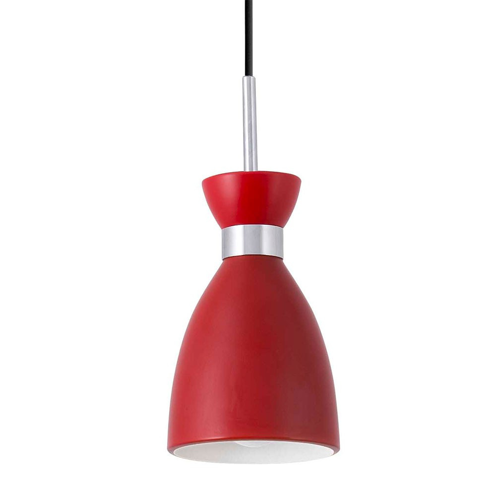 Suspension m tal vintage rouge finition mat lampe avenue for Lampe suspension ampoule