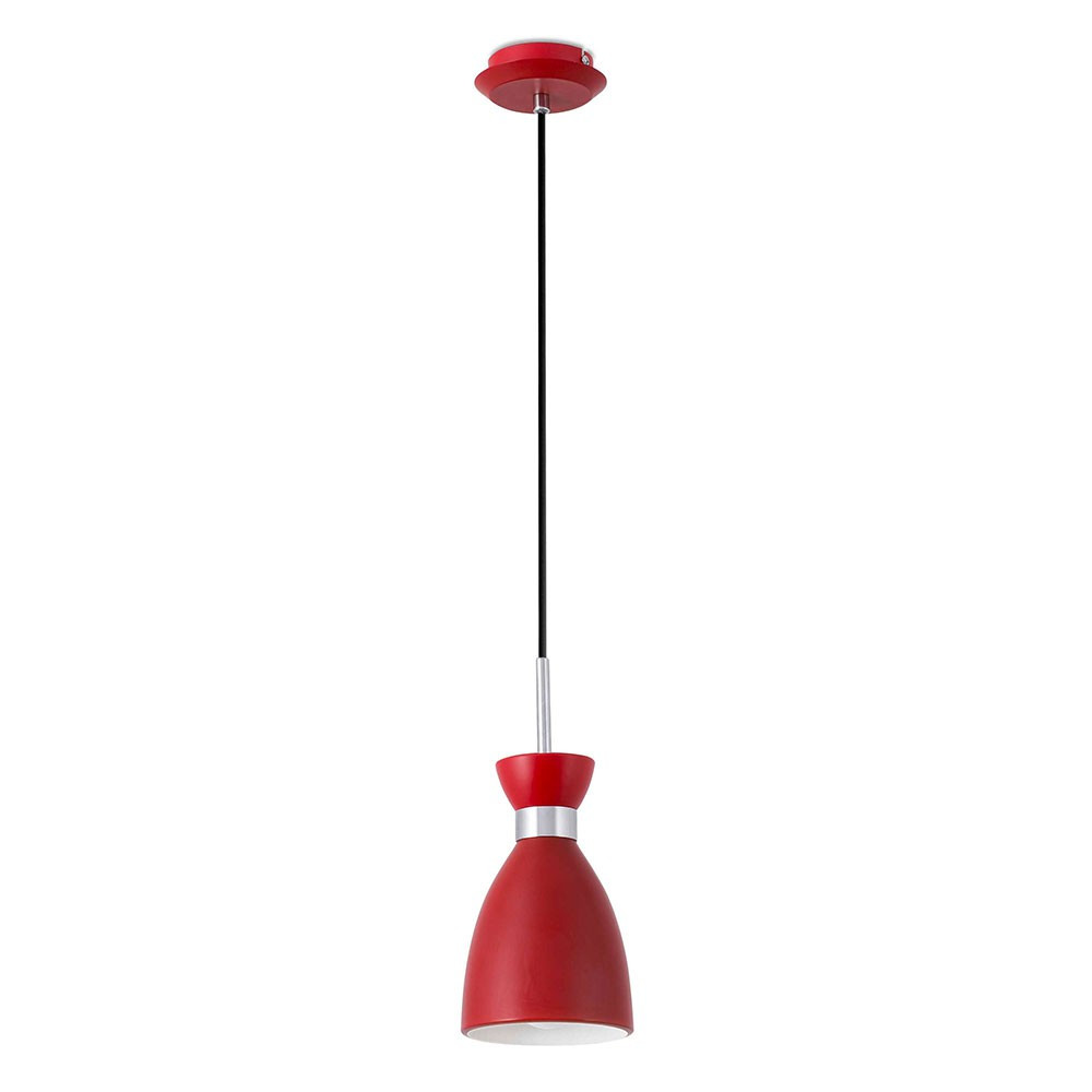 Suspension m tal vintage rouge finition mat lampe avenue for Luminaire suspension rouge