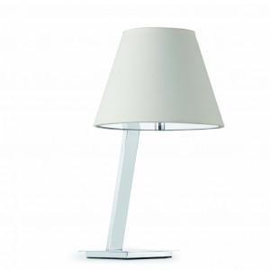Lampe de table chromée avec un abat jour blanc - Faro