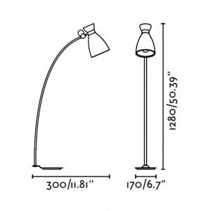 Lampadaire vintage dimensions