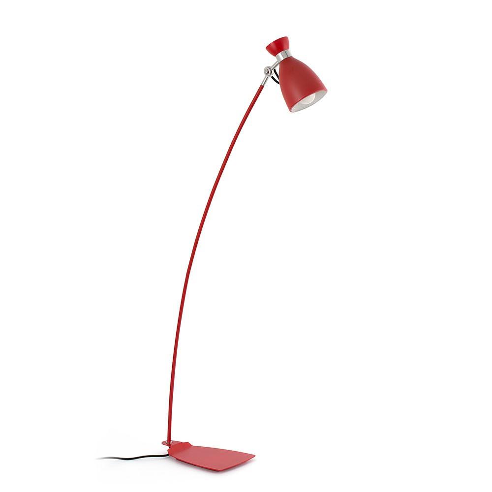 Lampadaire vintage en m tal rouge finition mat - Lampadaire retro ...