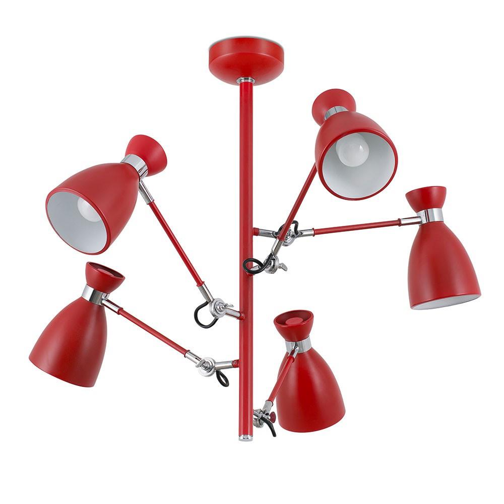 Suspension Cuisine Retro : Suspension rétro avec bras articulés en métal rouge mat