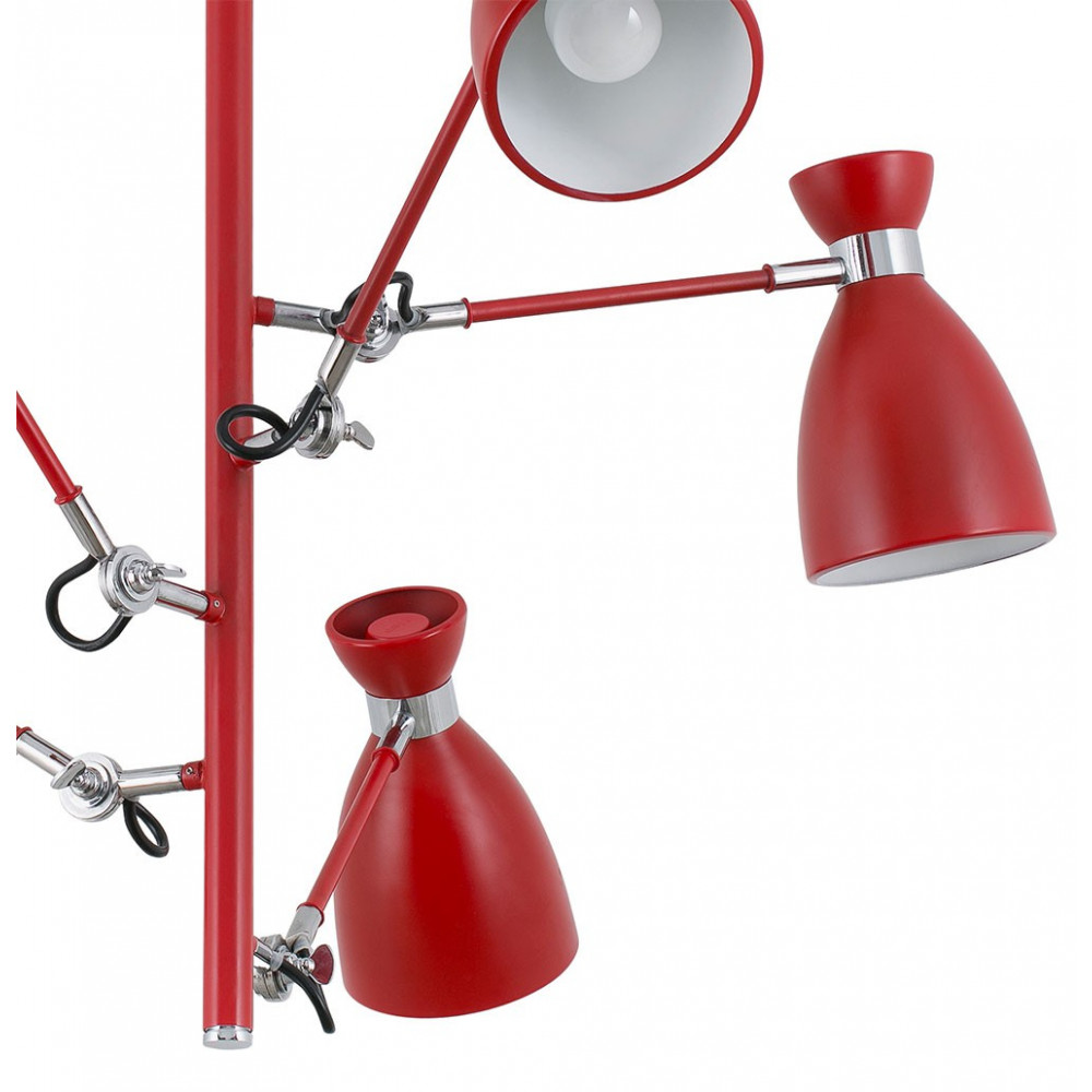 Suspension r tro avec 5 bras articul s en m tal rouge mat en vente sur lampe avenue - Luminaire suspension bras articule ...