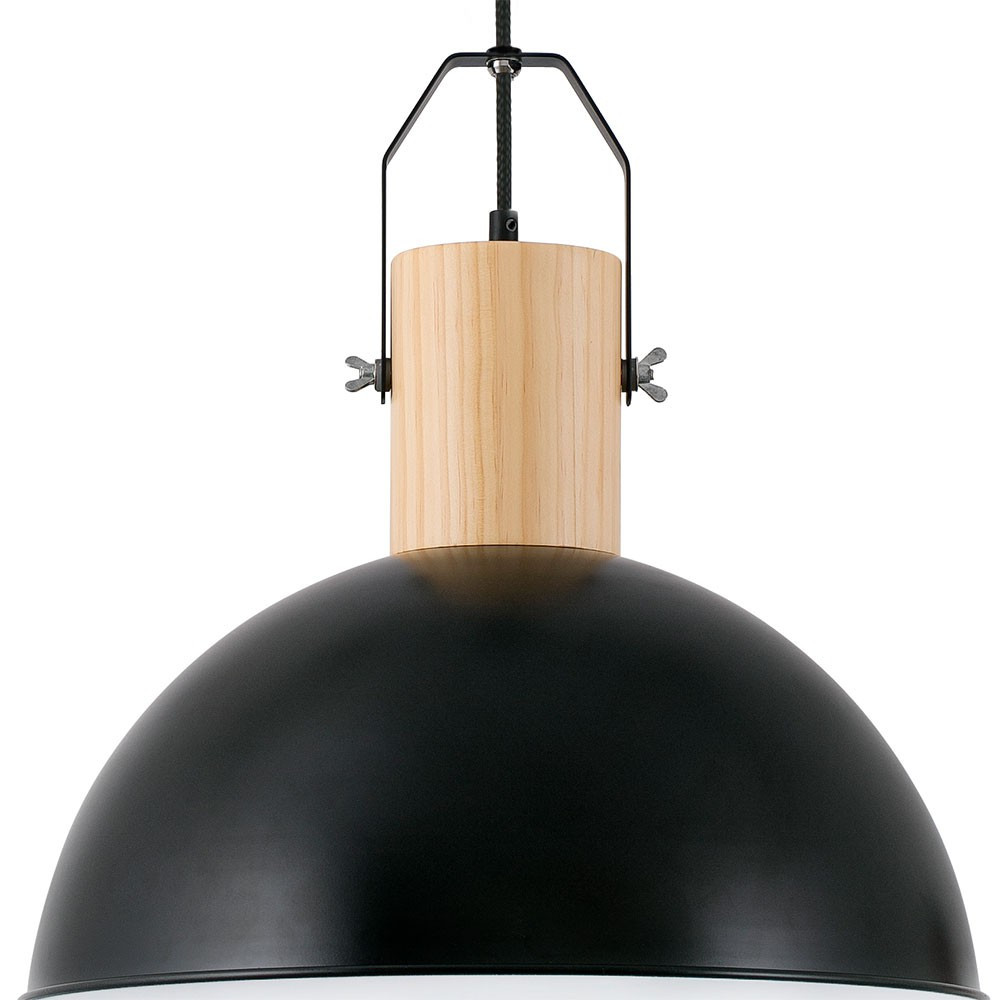 Suspension bois et m tal noir chic et d co sur lampe avenue for Suspension metal cuisine
