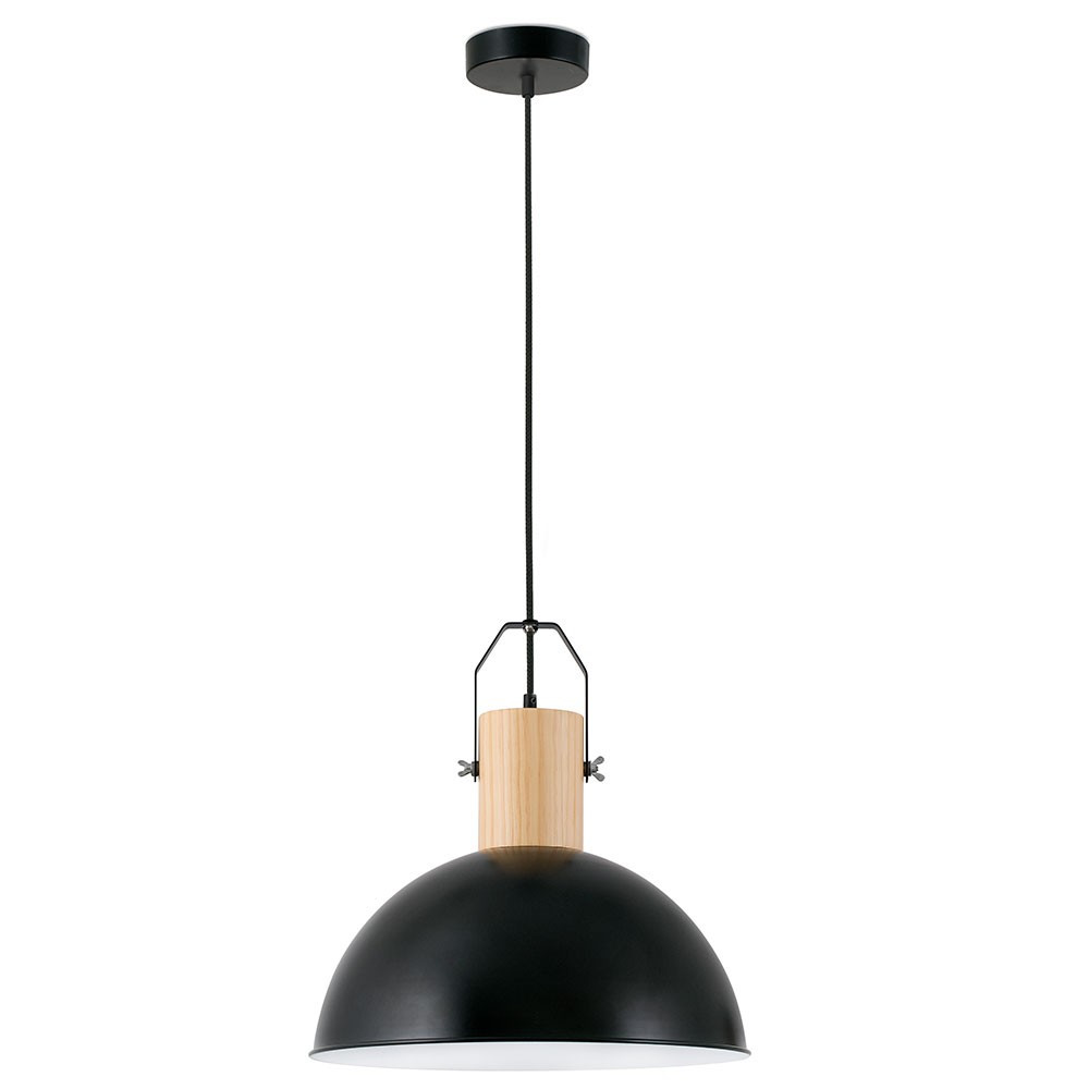 Suspension bois et m tal noir chic et d co sur lampe avenue for Suspension bois