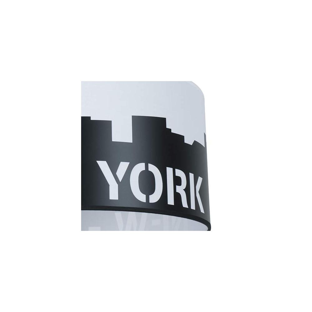 Suspension tendance noire et blanche new york sur lampe for Suspension noir et blanc