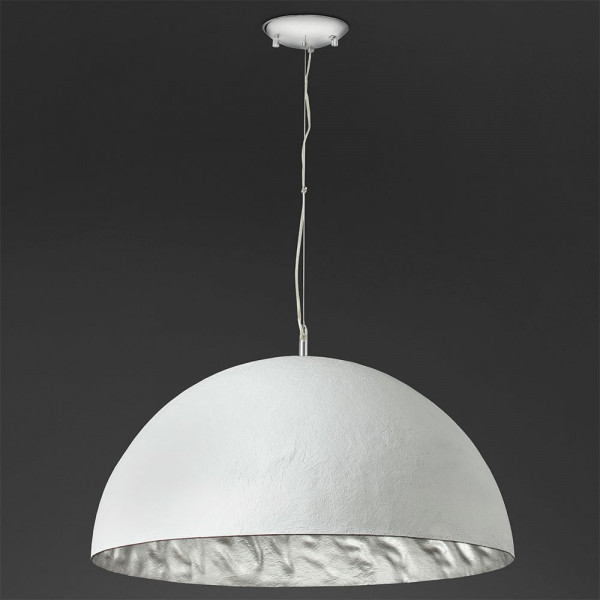 Grande suspension d me blanche int rieur argent en m tal for Grande suspension luminaire