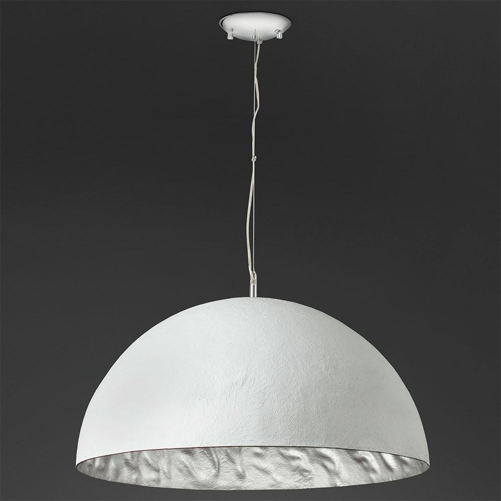 Grande suspension d me blanche int rieur argent en m tal for Suspension soldes